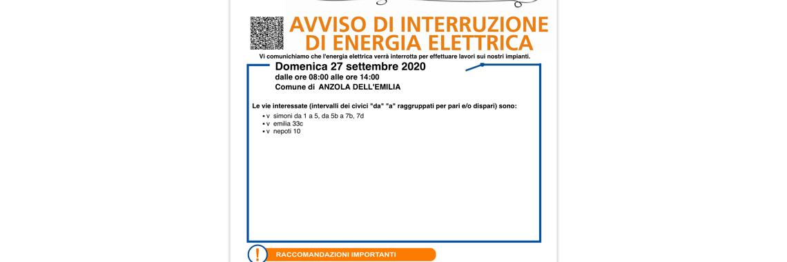 sospensione energia elettrica 27 sett 2020